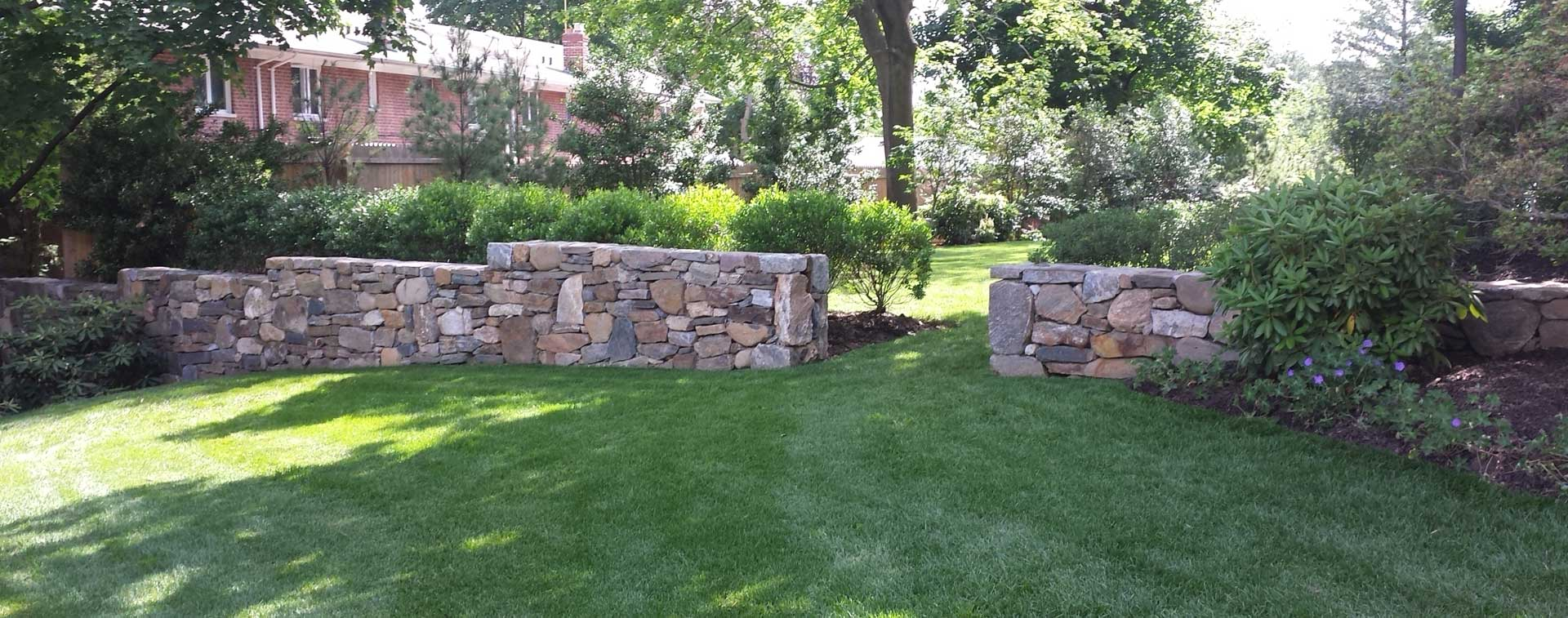 Retaining walls of stone or lumber in Westchester New York